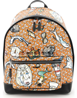BURBERRY MONOGRAM AND MARINE PRINT E-CANVAS BACKPACK OS Orange, White Synthetic
