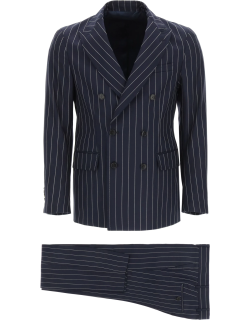 GM77 DOUBLE-BREASTED PINSTRIPE COTTON SUIT 48 Beige, White Cotton