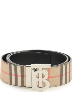 BURBERRY TB BUCKLE BELT 90 Beige, Black, Red Leather, Cotton