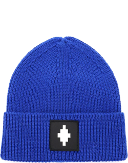 MARCELO BURLON BEANIE HAT WITH LOGO PATCH OS Blue Wool, Technical