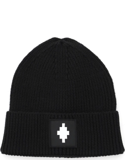 MARCELO BURLON BEANIE HAT WITH LOGO PATCH OS Black Wool, Technical