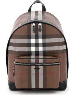 BURBERRY JETT TARTAN BACKPACK OS Brown, White, Black Leather, Cotton