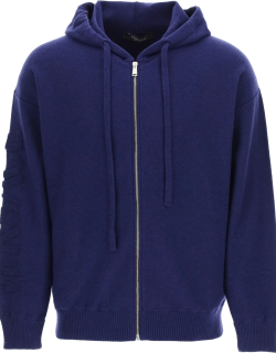 VERSACE HOODED SWEATER WITH TEXTURED-EFFECT MEDUSA 48 Blue Wool, Cashmere