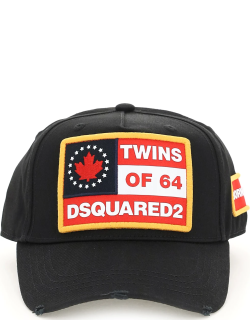 DSQUARED2 BASEBALL CAP WITH LOGO OS Black, Red, White Cotton
