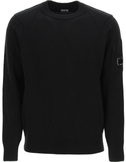 CP COMPANY SWEATER WITH STITCHING AND LENS 46 Black Wool
