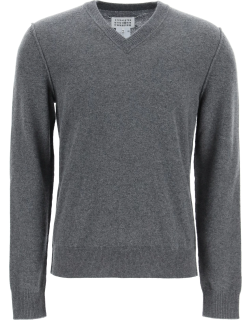 MAISON MARGIELA V-NECK SWEATER WITH INSIDE-OUT SEAMS S Grey Cashmere