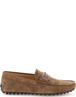 TOD'S SINGLE T SUEDE LEATHER LOAFERS 6 Brown Leather