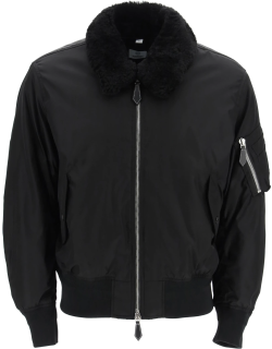 BURBERRY GLENFIEL BOMBER JACKET WITH LOGO AND SHEARLING COLLAR S Black Technical