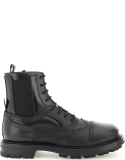 ALEXANDER MCQUEEN LACE-UP ANKLE BOOTS 40 Black Leather