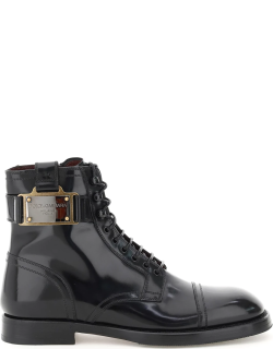 DOLCE & GABBANA BRUSHED CALFSKIN ANKLE BOOT 41 Black Leather