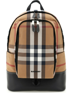 BURBERRY CHECK CANVAS AND LEATHER BACKPACK OS Brown, Black Cotton
