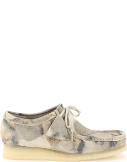 CLARKS WALLABEE CAMOUFLAGE SUEDE LEATHER LACE-UP SHOES 7 Beige, Grey Leather