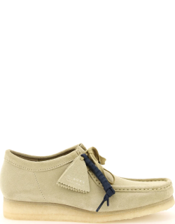 CLARKS WALLABEE SUEDE LEATHER LACE-UP SHOES 6,5 Beige Leather