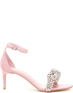 ALEXANDER MCQUEEN CRYSTAL KNOT SANDALS 37 Pink Leather