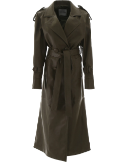 THE ATTICO LEATHER TRENCH COAT 40 Green Leather