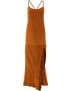 JESSIE WESTERN SUEDE DRESS WITH FRINGES 8 Brown Leather