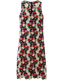 COLVILLE FLORAL LACE LONG DRESS 42 Red, Blue, White