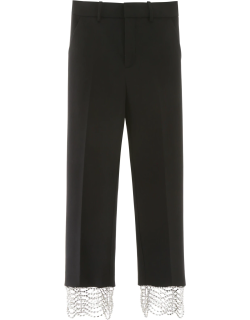 AREA CROPPED PANTS WITH CRYSTALS 4 Black Wool
