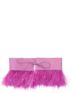 THE ATTICO NAPPA BELT WITH FEATHERS OS Purple Leather