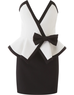ALESSANDRA RICH MINI DRESS WITH BOW 40 White, Black Wool