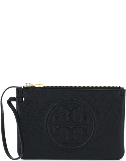 TORY BURCH PERRY BOMBE' POUCH OS Black Leather
