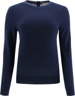 TORY BURCH CASHMERE SWEATER WITH LOGO BUTTONS XS Blue Cashmere