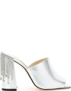 JIMMY CHOO BAIA MULES 100 WITH CRYSTAL DRAPE 37 Silver Leather