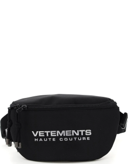 VETEMENTS BELTPACK WITH REFLECTIVE LOGO OS Black Cotton