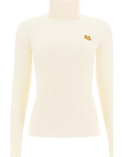 KENZO TURTLENECK SWEATER WITH TIGHER PATCH L White Wool