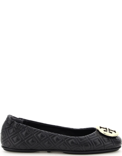 TORY BURCH QUILTED MINNIE BALLERINAS 6 Black Leather