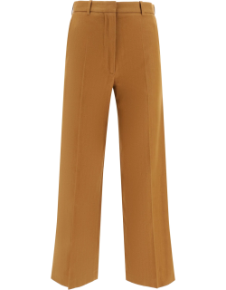 KENZO CROPPED TROUSERS 36 Brown Cotton, Linen