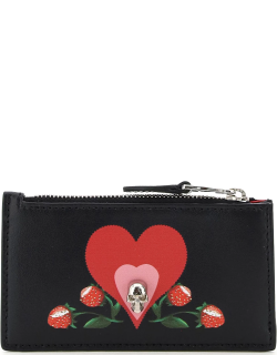 ALEXANDER MCQUEEN PRINTED CARD HOLDER POUCH SKULL OS Black, Red Leather