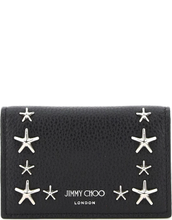 JIMMY CHOO NELLO CARD HOLDER WITH FLAP AND STAR STUDS OS Black Leather