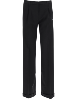 OFF-WHITE LOOSE TROUSERS WITH LOGO BANDS 42 Black Wool
