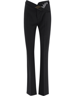 THE ATTICO PALAZZO TROUSERS WITH BELT 42 Black Wool