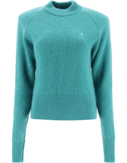 THE ATTICO CREW NECK SWEATER WITH LOGO EMBROIDERY S Green Wool