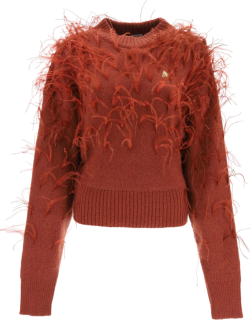 THE ATTICO SWEATER WITH FEATHERS S Brown Wool