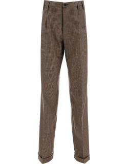 MAISON MARGIELA CLASSIC HOUNDSTOOTH TROUSERS 38 Brown, Black, Beige Wool
