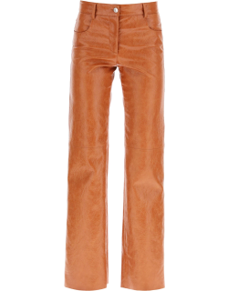MSGM GRAINED FAUX LEATHER TROUSERS 40 Brown Faux leather