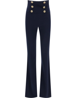 BALMAIN HIGH WAISTED PANTS WITH EMBOSSED BUTTONS 36 Blue