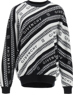GIVENCHY GIVENCHY CHAÎNE JACQUARD PULLOVER S White, Black Wool