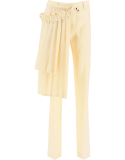 OFF-WHITE CURTAINS TROUSERS WITH PLEATED PANEL 40 Beige Wool