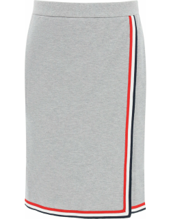 THOM BROWNE MINI SKIRT WITH TRICOLOR EDGES 42 Grey Cotton