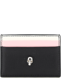 ALEXANDER MCQUEEN SKULL MULTICOLOR LEATHER CARD HOLDER OS White, Black, Pink Leather