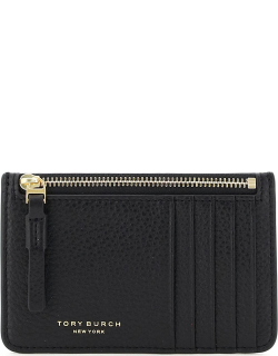 TORY BURCH PERRY TOP-ZIP POUCH CARD CASE OS Black Leather