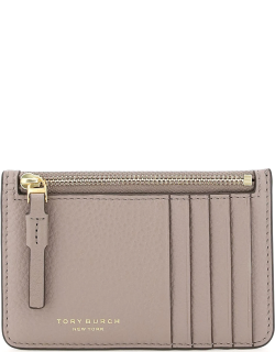 TORY BURCH PERRY TOP-ZIP POUCH CARD CASE OS Grey, Beige Leather