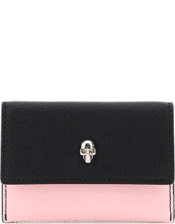 ALEXANDER MCQUEEN MULTICOLOR SKULL CARD HOLDER POUCH OS Black, Pink, White Leather