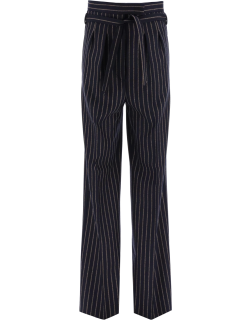 MAX MARA SAMBA TROUSERS IN WOOL AND CASHMERE 40 Blue, Brown Wool, Cashmere