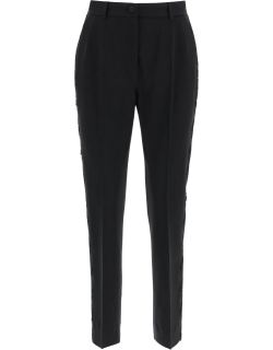 DOLCE & GABBANA TROUSERS WITH LACE BAND 42 Black Wool