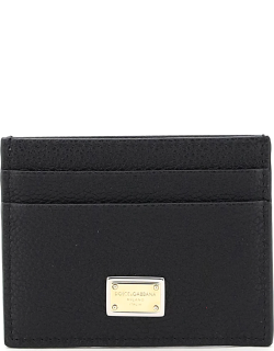DOLCE & GABBANA LEATHER CARD HOLDER WITH LOGO PLAQUE OS Black Leather